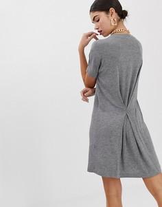 Меланжевое платье-футболка ASOS DESIGN - Серый