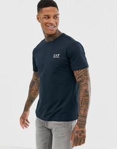Темно-синяя футболка с маленьким логотипом EA7 - Темно-синий