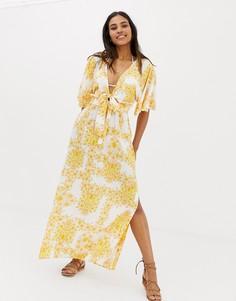 Желтое пляжное платье макси с подсолнухами Seafolly - Желтый