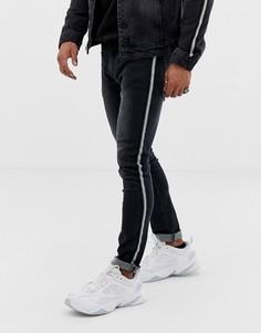 Черные джинсы скинни с полосами с эффектом металлик Liquor N Poker - Черный