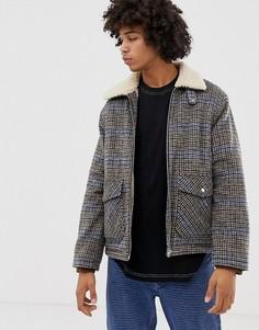 Спортивная куртка в клетку на меховой подкладке Weekday Justus - Бежевый