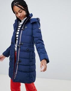 Дутая куртка с меланжевой подкладкой на капюшоне Esprit - Темно-синий