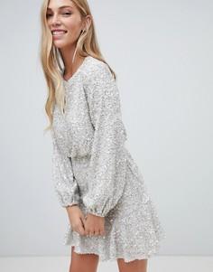 Серебристое платье мини с пайетками Forever New - Серебряный