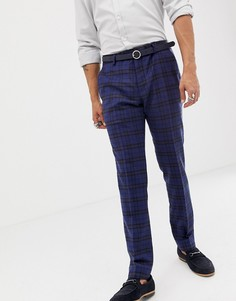 Синие супероблегающие брюки из ткани с добавлением шерсти в клетку тартан Twisted Tailor - Синий