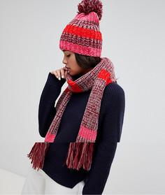 Розовый вязаный шарф и шапка в полоску Boardmans - Розовый