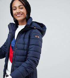 Темно-синяя короткая дутая куртка с капюшоном Esprit - Темно-синий
