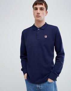 Темно-синяя футболка-поло с длинными рукавами Fila White Line - Темно-синий