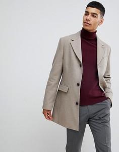 Шерстяное пальто серо-желтого цвета Moss London - Бежевый