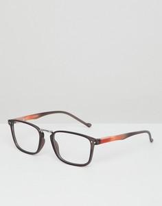Черные квадратные очки с прозрачными стеклами ASOS DESIGN - Черный