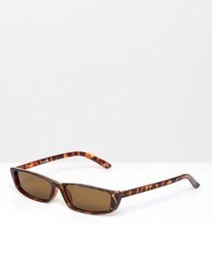 Солнцезащитные очки с тонкой квадратной черепаховой оправой ASOS DESIGN - Коричневый