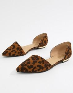 Туфли на плоской подошве с леопардовым принтом RAID - Мульти