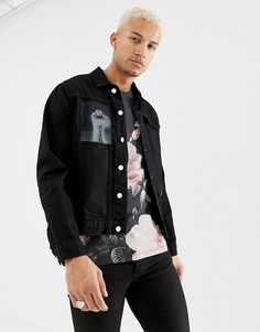 Черная джинсовая куртка с нашивками Religion - Черный