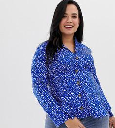 Чайная блузка с принтом на пуговицах Influence Plus - Синий