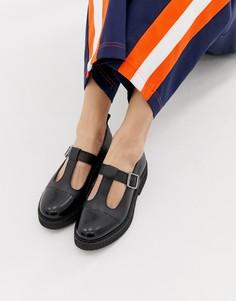 Кожаные туфли на массивной плоской подошве ASOS DESIGN Method - Черный