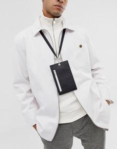 Черный кожаный кошелек на шею с отделением для телефона ASOS DESIGN - Черный