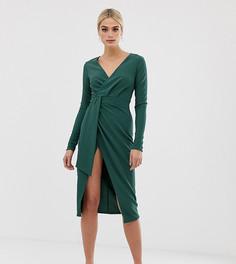 Платье миди с длинными рукавами и запахом ASOS DESIGN Tall - Зеленый