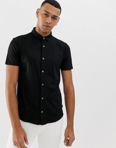 Узкая черная рубашка с короткими рукавами Emporio Armani - Черный