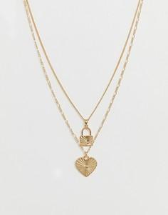Ярусное ожерелье с подвесками ASOS DESIGN - Золотой