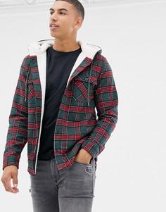 Куртка в клетку на подкладке из искусственного меха Another Influence - Зеленый