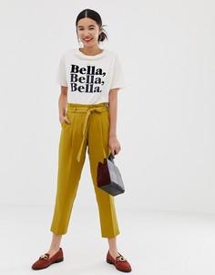 Зауженные брюки горчичного цвета с завязкой на поясе New Look - Желтый