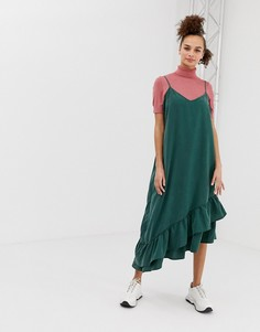 Платье на бретельках с полосками Monki - Зеленый