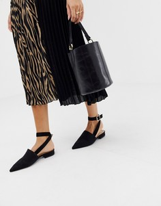 Черные туфли на низком каблуке без задника RAID Sanoura - Черный