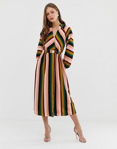 Платье макси в полоску с запахом ASOS DESIGN - Мульти