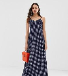 Атласное платье-комбинация макси в горошек Glamorous Tall - Темно-синий
