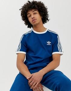 Темно-синяя футболка с 3 полосками adidas Originals California DV1564 - Серый