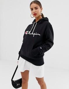 Худи бойфренда с вышитым логотипом Champion - Черный
