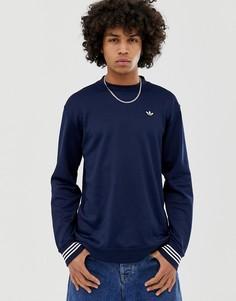 Лонгслив из пике с высоким воротом и логотипом adidas Originals 7854 - Темно-синий