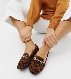 Туфли для широкой стопы на плоской подошве с леопардовым принтом и пряжками RAID Viera - Мульти