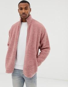 Розовая спортивная oversize-куртка из искусственного меха ASOS DESIGN - Розовый