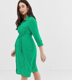 Платье-рубашка с карманами Mamalicious - Зеленый Mama.Licious