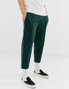Укороченные зауженные брюки с полосками по бокам Only & Sons - Зеленый