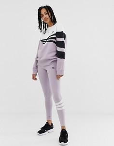 Сиренево-белые леггинсы adidas Originals Linear - Фиолетовый
