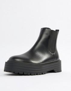 Ботинки челси на плоской подошве Public Desire Amerika - Черный