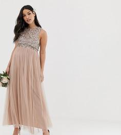 30ea6059db0d81c Розовое платье макси из тюля с однотонными пайетками Maya Maternity  Bridesmaid - Коричневый