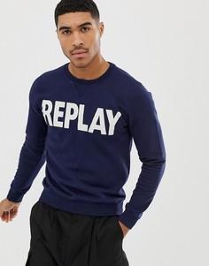 Темно-синий свитшот с круглым вырезом и логотипом Replay - Темно-синий