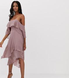 Ярусное платье-бандо миди ASOS DESIGN - Фиолетовый