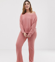 Трикотажные расклешенные брюки в рубчик ASOS DESIGN Curve - Розовый