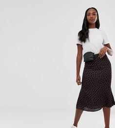 Атласная юбка с принтом Glamorous Tall - Черный