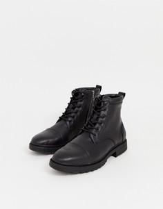 Черные рабочие ботинки Pull&Bear - Черный