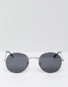Круглые солнцезащитные очки в серебристой оправе с черными стеклами Bershka - Черный