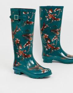 Резиновые сапоги с цветочным принтом ASOS DESIGN Grace - Зеленый