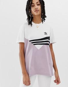 Сиренево-черная футболка adidas Originals Linear - Фиолетовый