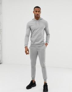 Серый меланжевый спортивный костюм с худи и джоггерами ASOS DESIGN - Серый