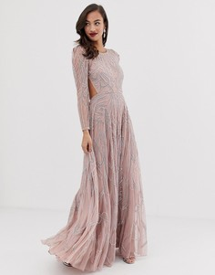 Платье макси с отделкой камнями ASOS EDITION - Розовый