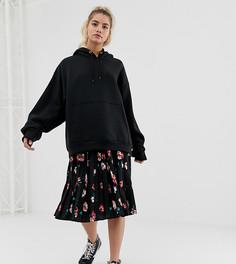 Плиссированная юбка миди с цветочным принтом Wednesdays Girl - Черный