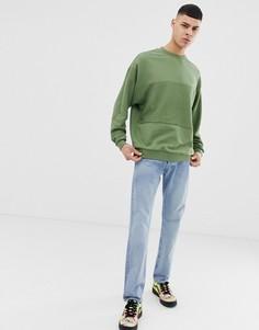 Зеленый oversize-свитшот со вставками ASOS DESIGN - Зеленый